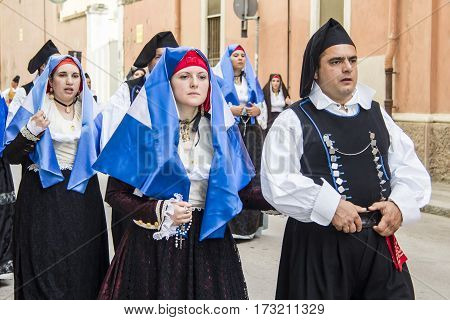 CAGLIARI, ITALY - May 1, 2013: 357 Procession of Sant'Efisio Religious - Sardinia - parade in traditional Sardinian costume