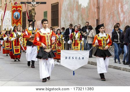 CAGLIARI, ITALY - May 1, 2014: 358 Religious Procession of Sant'Efisio - Parade of folk group of Desulo - Sardinia
