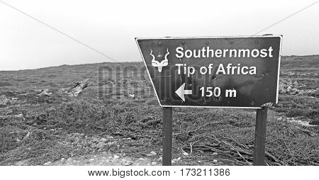 In South Africa   Sign Of  The Most Southern African Point