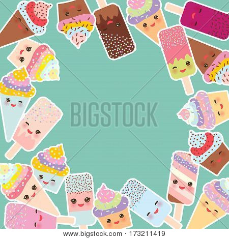 Card design for your text. round frame cupcakes with cream ice cream in waffle cones ice lolly Kawaii with pink cheeks and winking eyes pastel colors on light blue background. Vector illustration
