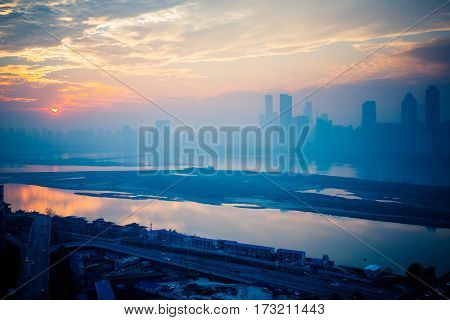 sunrise view of urban skyline with cityscape in Nanchang,China.