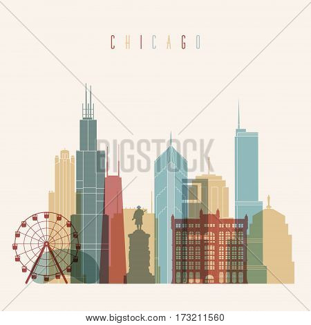 Transparent styled Chicago City skyline detailed silhouette. Trendy vector illustration.
