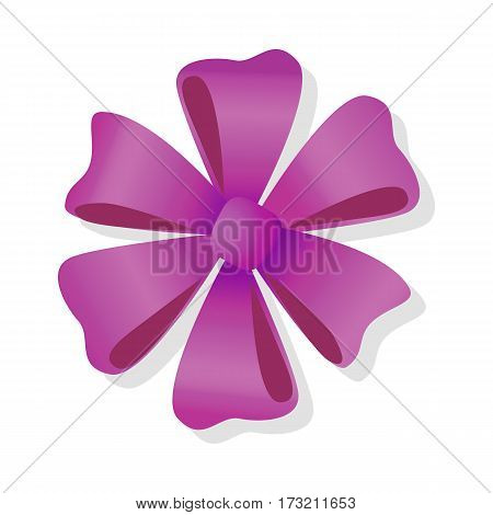 Purple flower bow isolated on white. Pussy bright bow knot. Gift knot of ribbons in flat style design. Overwhelming bow without ends decorative element. Vector cartoon illustration. Classical bow