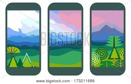 Set of panoramic landscape patters for mobile smart phones. Walley with forest and cloudy sky.