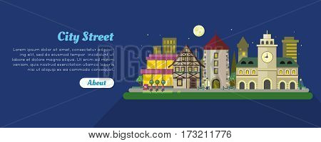 Night city street banner. Medieval city hall, stone tower, fachwerk house, modern buildings and skyscraper flat vectors. European historic district. For travel company, tourist attraction web page