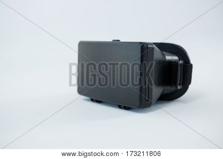 Close-up of virtual reality headset on white background