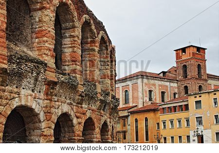 Urban scenic of Verona with Arena, Italy