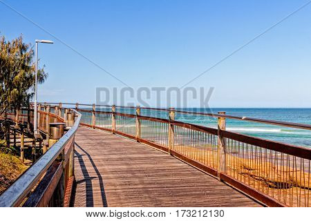 The boardwalk connects the beaches at Caloundra Queensland Australia. People use the boardwalk for walks jogging cycling and just hanging around.