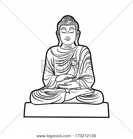 Buddha isolated on white. Esoteric vintage illustration. Indian, Buddhism, spiritual art. Hippie tattoo, spirituality, Thai god, yoga zen . Coloring book pages for adults.