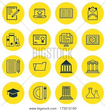 Set Of 16 School Icons. Includes Document Case, Taped Book, Academy And Other Symbols. Beautiful Design Elements.