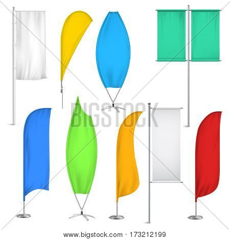 Colored realistic advertisement flags and banners icon set for for location close to shops vector illustration