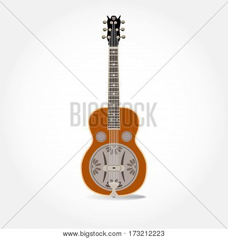 Vector illustration of resonator guitar isolated on a white background. Resophonic guitar. Bluegrass and country music.