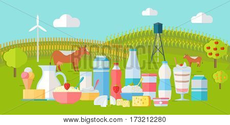 Traditional dairy products from cow s milk. Different dairy products on natural background of meadow with cows. Natural farm food concept. Assortment of dairy products. Summer rural landscape.