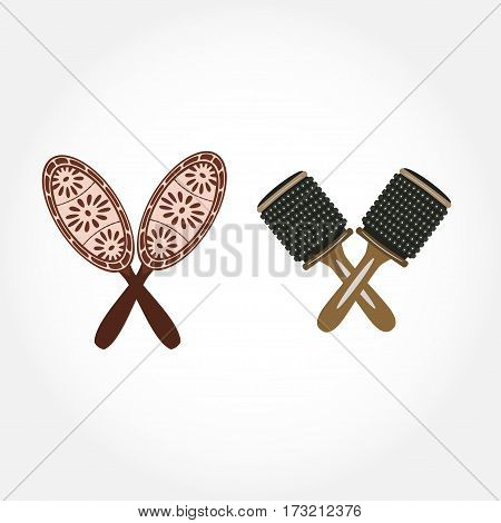 Maracas musical instrument in flat design. Vector illustration of maracas isolated on white background