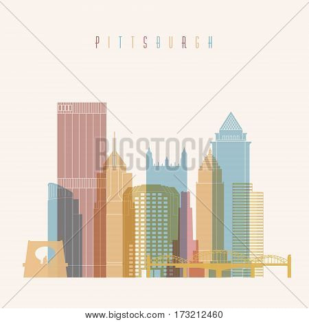 Pittsburgh city skyline colorful silhouette background. Vector illustration.