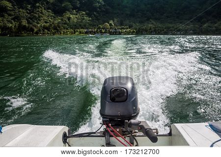 Boat In Motion With Foam Trace