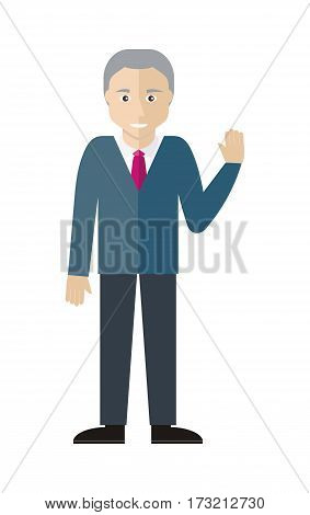 Man character vector in flat design. Smiling old male with grey hair. Illustration for profession, fashion, human concepts, app icons, logo, infographics design. Isolated on white background