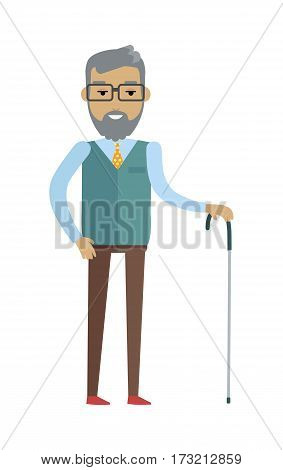 Old smiling bearded man with walking stick. Old man in glasses, blue sweater, brown pants and tie. Smiling man personage in flat design isolated on white background. Vector illustration.