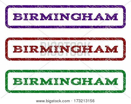 Birmingham watermark stamp. Text tag inside rounded rectangle with grunge design style. Vector variants are indigo blue red green ink colors. Rubber seal stamp with dirty texture.