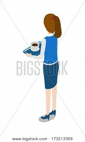Isolated turned waitress with tray in hands. Cup of black coffee and plate on salver. Waitress wearing dark blue skirt and white shirt. Full length picture of female worker. Flat design. Vector.