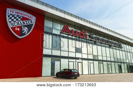 Ingolstadt, Germany - September 2016: At Audi Sportpark Arena - the official playground of FC Ingolstadt