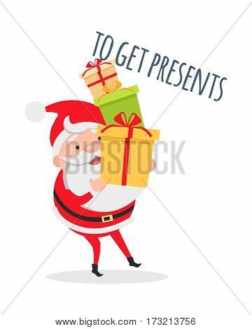 Santa hurries to get presents isolated. Santa Claus with mountain of gift boxes. Merry Christmas and happy New Year concept. Winter holiday illustration. Greeting card. Vector in flat style design
