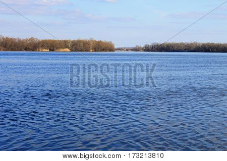 View on the Dnieper river in Ukraine