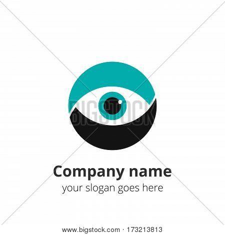 Eye Logo design vector template. Colorful flat media icon. Creative Vision Logotype concept. Green Eye Logo vision.