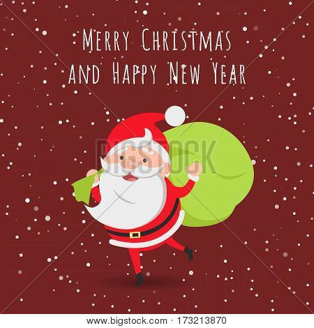 Merry Christmas and Happy New Year. Running Santa Claus with big green bag of presents behind back. Dark speckled background. Flat style. Cartoon design. Illustration of happy Santa Claus. Vector