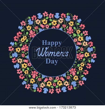 Happy Women's Day. March 8. Multicolor floral wreath on a blue background. Concept design for a holiday sale, greeting cards, invitations.