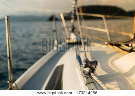 Deck boats yacht. yachting rope element. during the boat ride.
