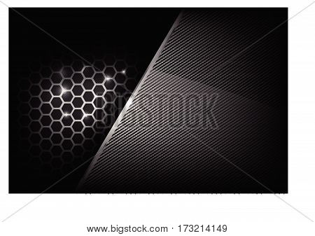 Dark and black with metal honeycomb pattern overlaps and layered and cabon fiber texture vector illustration eps 10