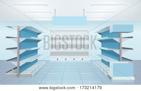 Supermarket design interior composition with three empty rows of shelves and blank product tabloid with reflections vector illustration