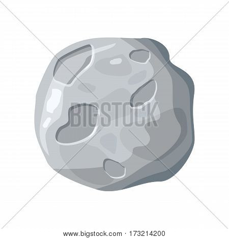 Moon satellite icon. Element of solar system. Solar system. Isolated planet. Gray round planet. Moon icon. Isolated object in flat design on white background. Vector illustration.