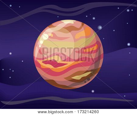 Planet Jupiter in space star background. Element of solar system. Cosmic galaxy background with bright shining stars. Solar system. Isolated planet. Red planet. Vector illustration.