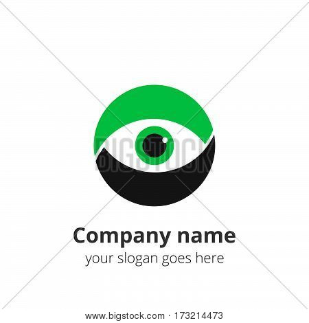 Eye Logo flat design vector template. Colorful media icon. Creative Vision Logotype concept. Green Eye Logo vision.