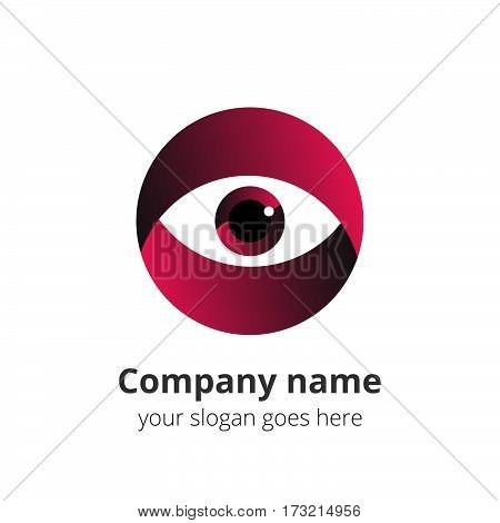 Eye Logo design vector template. Colorful gradient media icon. Creative Vision Logotype concept. Pink Eye Logo vision.