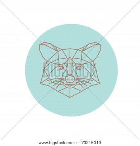 Polygonal abstract raccoon silhouette on a white background.