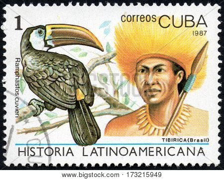 UKRAINE - CIRCA 2017: A stamp printed in Cuba shows Tibirica Brazil and bird Toucan Ramphastos cuvieri the series Latin American history circa 1987