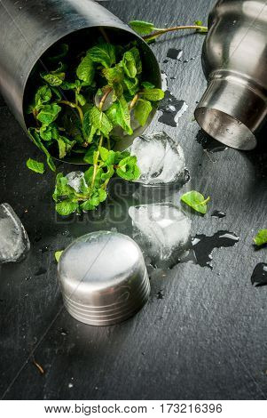Fresh Mint With Ice In Shaker