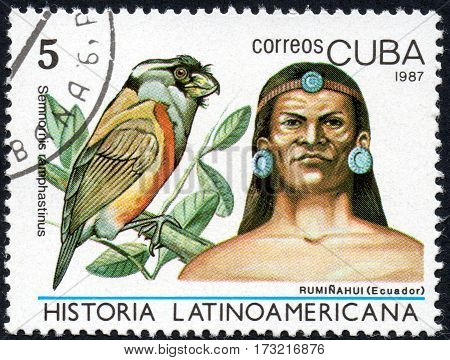 UKRAINE - CIRCA 2017: A stamp printed in Cuba shows Image of a chieftain Ruminahui Ecuador and bird Toucan Barbet Semnornis ramphastinus the series Latin American history circa 1987