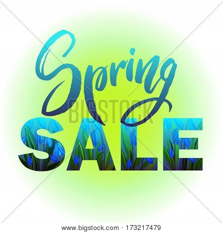 Spring sale banner. Design with Colorful Flowers and Leaves in Background for Spring Seasonal Promotion. Spring hand drawn lettering. Vector illustration stock vector.