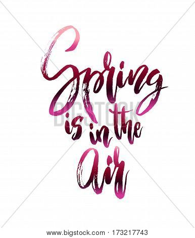 Spring calligraphy card. Calligraphy quote spring in air. Handwritten lettering quote on white isolated background Vector illustration stock vector.
