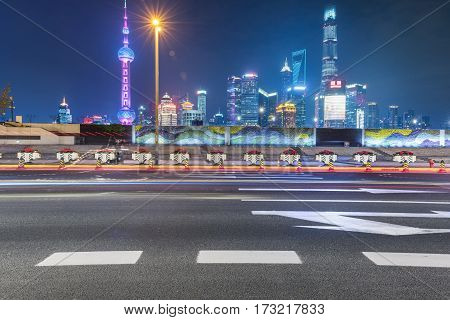 night cityscape of downtown district of shanghai,china.