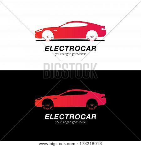 Car logo vector silhouette. Automotive company logotype vector design concept with sports car silhouette - Red gradient.