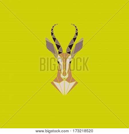 Vector sign abstract head of African Antelope. Geometric low poly antelope design. Animal living in reserve.