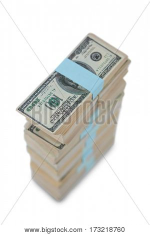 Bundle of us hundred dollars bank notes on white background