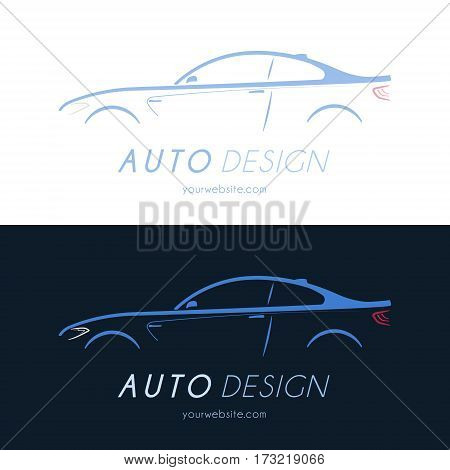 Sport coupe car logo. Business card. vector illustration.