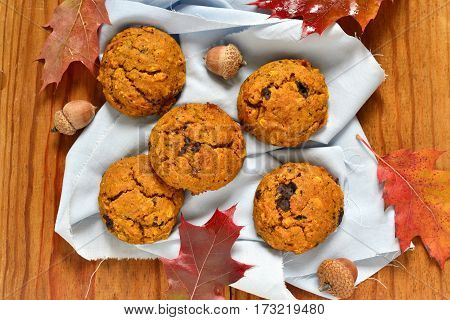 Pumpkin cookies with chocolate chips, top view