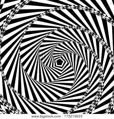 Vector illustration of black and white geometric background of increasing and rotate the pentagon create an optical illusion.